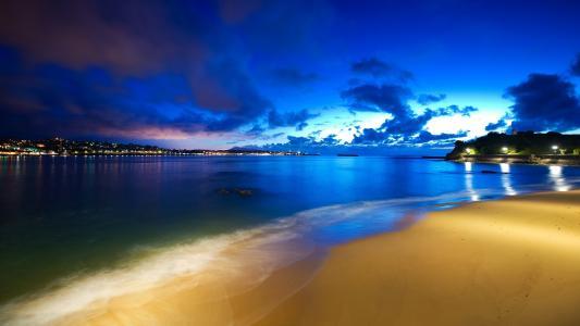 海洋,云,天空,灯,晚上,海滩