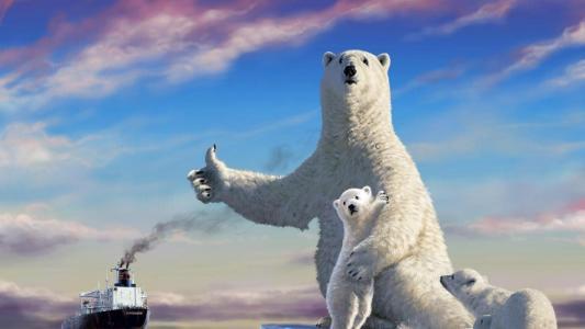 熊,浮冰,破冰船,天空