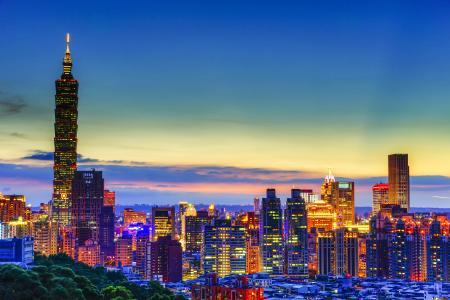 摩天大楼,房子,台湾,夜,城市
