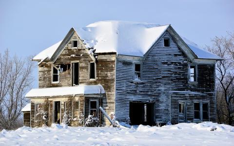 房子,雪,冬天
