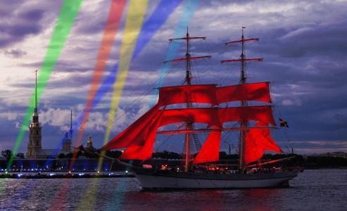 晚上,帆船,船,节日,猩红色,帆