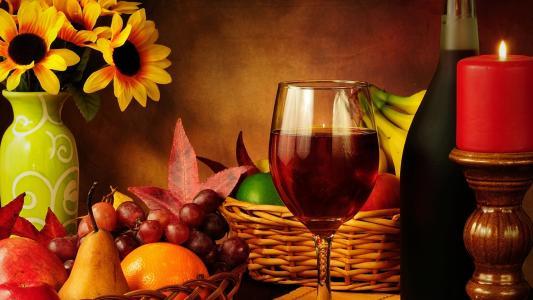 静物,酒,玻璃,瓶,蜡烛,水果,花瓶,鲜花,背景,美容