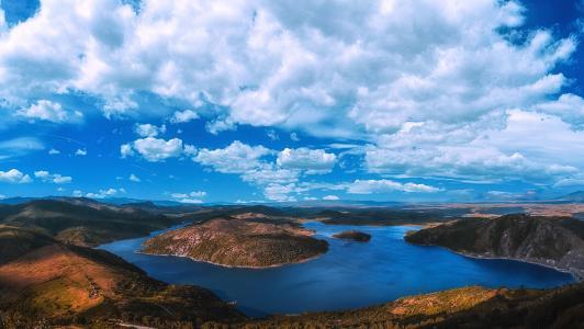 自然,景观,河,胰岛,山,天空,云