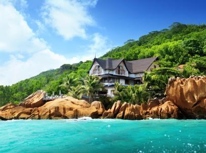 自然,海洋,房子,酒店,岛,塞舌尔,塞舌尔