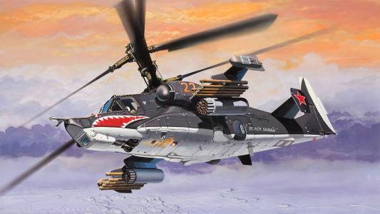 直升机,艺术,黑鲨,ka-50