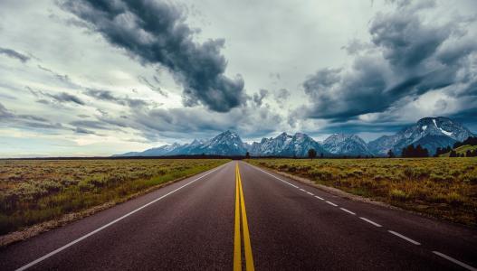 路,山,自然