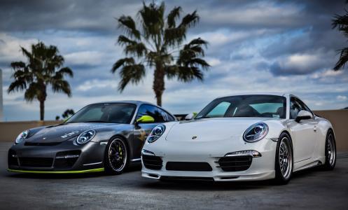 保时捷911,保时捷,超级跑车,跑车,天空,棕榈树