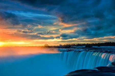 瀑布,日落,流,天空,云,地平线,美女