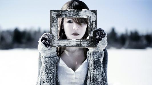 雪,脸,霜,女孩,手套,冬天,冷,框架