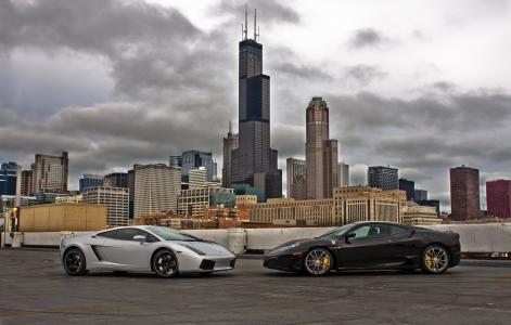 盖拉多,f430,银,法拉利,芝加哥,黑色,兰博基尼