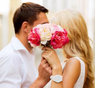 情侣,宏,照片,创意,鲜花,爱,吻,积极