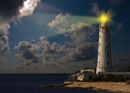 灯塔,岸,海,云,光,射线