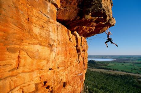 女孩,登山者,岩石,金发