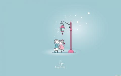 情侣,爱,吻,灯笼,吻我