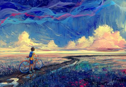 男孩,林间空地,路径,自行车