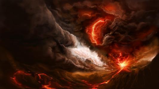 艺术,火山,火,黑暗的背景,幻想,闪电