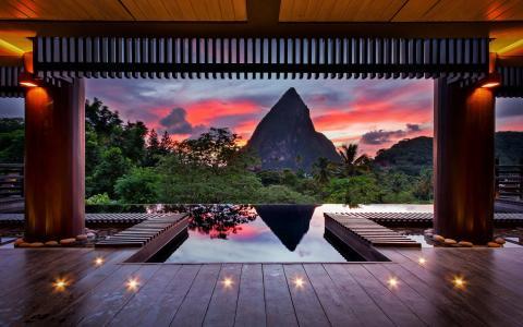 晚上,加勒比海,热带地区,夏天,山