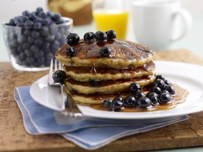 蓝莓,蜂蜜,薄煎饼,油条,薄煎饼,浆果