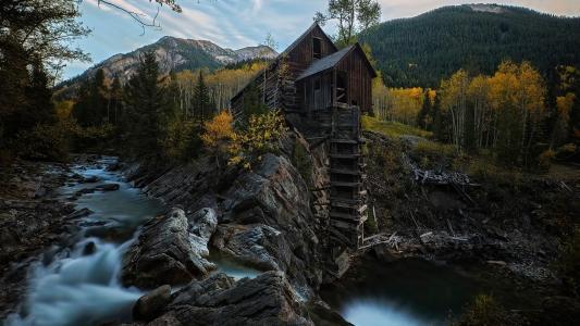 自然,山,山区河流,森林,美丽,秋天