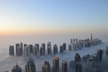 高度,雾,摩天大楼,酷,早上,迪拜